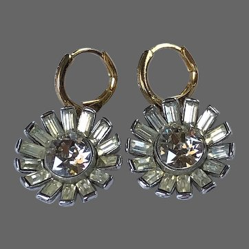Vintage flower drop earrings sparkling old crystal baguettes and rosette in silver plated bezel gold plated hypoallergenic lever back clasp Paris flea market jewelry