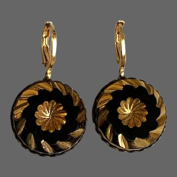 Vintage earrings old black glass gold plated cameo in brass bezel gold plated hypoallergenic lever back clasp flea market jewelry