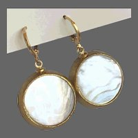 Vintage earrings mother of pearl cabochon in golden bezel and gold-plated lever back clasp flea market jewelry