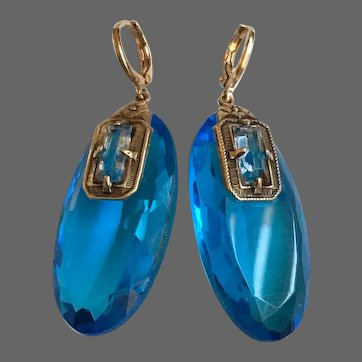 Ocean blue old crystal earrings gold plated hypoallergenic lever back clasp aurora borealis glitter jewelry upscale