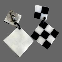 Chess board clip-on earrings black & white vintage plastic flea market jewelry