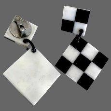 Chess board clip-on earrings black & white vintage plastic flea market jewelry
