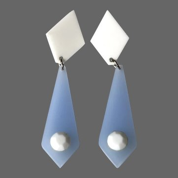 Vintage lucite baby blue necktie earrings stud clasp 1950's jewelry