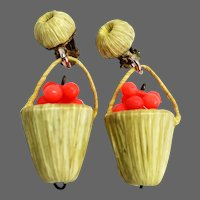 Vintage raffia basket coral shade plastic cherries clip on earrings fashion jewelry design.