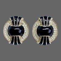 Kenneth Jane elegant vintage black enamel crystal rhinestones gold plated Art Deco style clip on earrings collection jewelry design