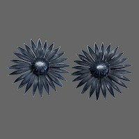 Elegant black Gerbera flower clip on earrings vintage jewelry design
