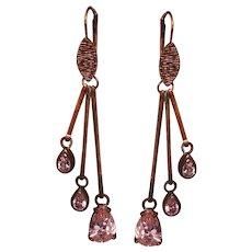 Vintage seventies chandelier earrings copper tone metal wire pink zircon drops flea market jewelry