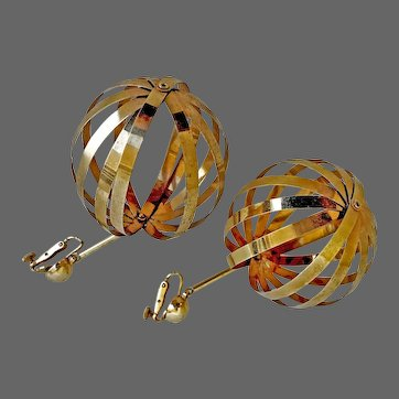 Vintage VENDOME earrings glossy gold-plated metal stripes ball clip-on clasp flea market jewelry