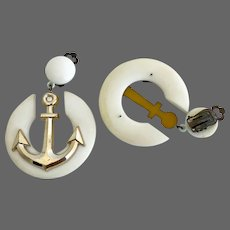 Vintage marine clip-on earrings gold tone anchor on white wheel flea market jewelry 1950's old plastic design