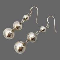 Vintage three silver balls drop earrings fish hook ear wire dainty jewelry flea market find