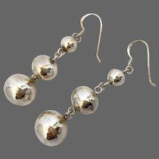 Vintage three silver balls drop earrings fish hook ear wire dainty jewelry flea market find