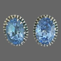 Vintage clip-on earrings old aquamarine blue crystal rhinestone on silvery-brass bezel elegant romantic jewelry design
