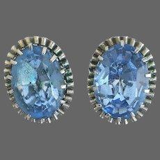 Vintage clip-on earrings old aquamarine blue crystal rhinestone on silvery-brass bezel elegant romantic jewelry design