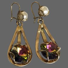 Pink aurora borealis crystal and pearl in brass cage vintage drop earrings flea market jewelry find