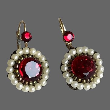 Michal Negrin vintage earrings red crystals embroidered beads and faux pearls gold plated clasps romantic designer jewelry