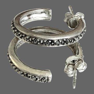 Vintage silver gypsy earrings black hematite marcasite stones pushback clasp flea market jewelry