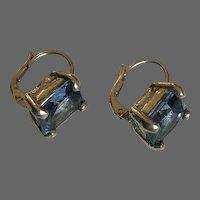 Vintage sterling silver classy earrings topaz-blue zircon hypoallergenic lever back clasp dainty estate jewelry