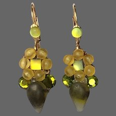 Michal Negrin vintage earrings green yellow Swarovski crystals embroidered on lace gold plated lever back clasp estate fashion jewelry