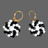 Vintage dainty black and white embroidered earrings old plastic beads hand sewn to brass bezel gold plated lever back clasp flea market jewelry