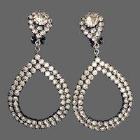 Crystal rhinestones hoop stud earrings vintage flea market jewelry upscale design