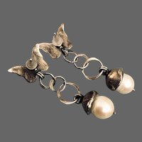 Silver butterfly and pearl vintage stud earrings estate costume jewelry handmade design