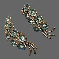 Gold plated brass miniature green blue painted flowers clip-on earrings vintage jewelry design