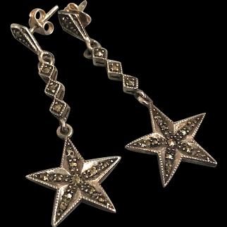 Vintage marcasite sterling silver star stud earrings flea market jewelry