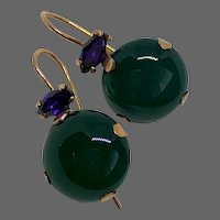 Forest green agate purple cubic zirconia gold earrings upscale jewelry design