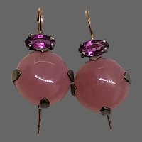 Pink rose quartz cabochon violet tourmaline sterling silver small delicate drop earrings gold hypoallergenic ear wire dainty jewelry upscale design