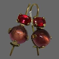 Small gold drop earrings fuchsia cubic zircon pink-purple tourmaline cabochon dainty jewelry upscale design