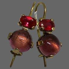 Small gold drop earrings fuchsia cubic zircon pink-purple tourmaline cabochon dainty jewelry upscale design