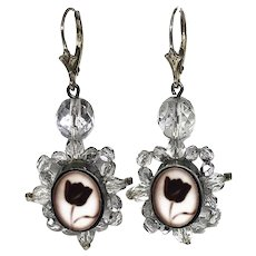 Black tulip cameo silver earrings Czech crystals romantic contemporary jewelry.