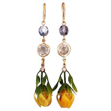 Yellow flower violet Czech crystal bead gold plated ear wire earrings
