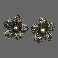 Vintage silver & pearl daffodil flower and sparkling marcasite clip-on earrings exceptional Jaffa flea market jewelry