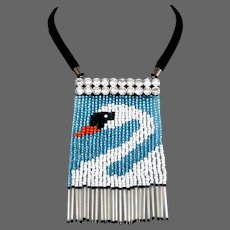 Couture bib necklace Venetian bead fringes Swarovski silver foil pendant design romantic contemporary jewelry