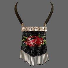 Tasseled bib necklace Venetian glass beads fringe Swarovski silver foil rhinestones pendant statement jewelry design