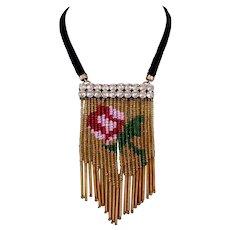 Couture bib necklace gold tone antique beaded fringes Swarovski silver foil pendant design