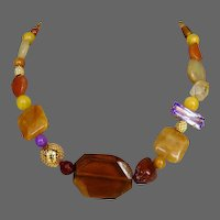 Earthy jewelry design minerals quartz and crystal bead necklace statement jewelry