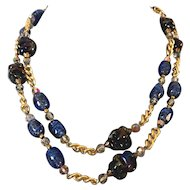 Handmade vintage Venetian AB blue lamp-work beads and old cut vintage crystal beads gold plated chain necklace fashion jewelry design