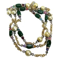 Very long beaded necklace of vintage AB clear crystals green agate violet genuine Swarovski crystals vintage faux pearls and rhinestone roundels on gold-plated chain necklace statement jewelry design