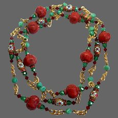 Very long beaded necklace coral hue Jasper, vintage green Murano glass and Czech fire polished beads, gold-tone flower cloisonné, red Swarovski crystals gold-plated chain statement jewelry design