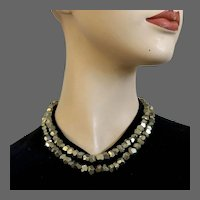 Pyrite fool's gold nugget beads long necklace quality contemporary jewelry