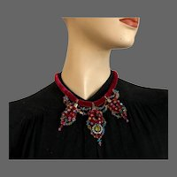 Purple velvet choker embroidered Swarovski crystal beads sterling silver ring pendant passionate jewelry upscale designer necklace