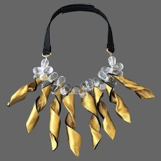 Couture golden twisted leather leaves floral necklace choker statement jewelry design hand pained and crafted