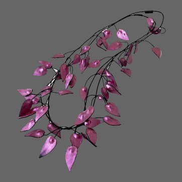 Long double strand couture fuchsia leather leaves floral necklace hand painted and crafted statement jewelry in vogue design