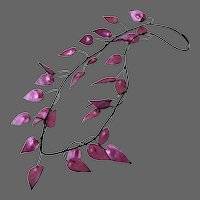 Couture fuchsia leather leaves floral necklace statement jewelry design hand pained and crafted choker