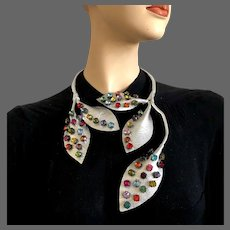 Couture floral necklace silver leather leaves embroidered with multicolor Swarovski crystals on movable branch. Shape it anyway you'd like, statement jewelry design hand pained and crafted choker