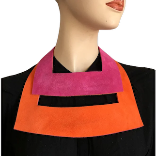 Two side fuchsia orange in-vogue leather twin chokers elegant bib necklace statement jewelry design upscale