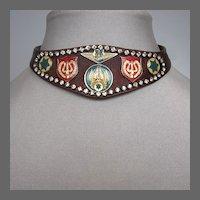 Burgundy leather choker Swarovski crystals emblems fashion  jewelry