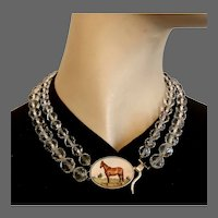 Old America prairie horse cameo sterling silver pendant on quartz crystal bead necklace. Romantic fashion jewelry couture choker upscale.